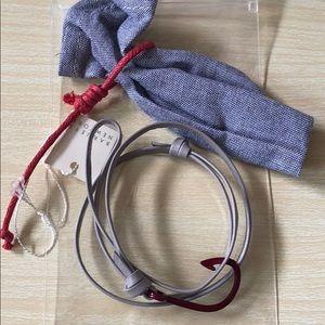 Miansai Unisex Bracelet Grundy Hook Gray Leather